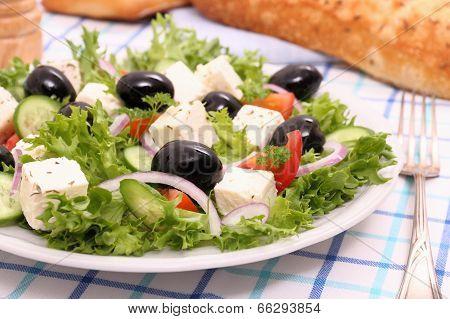 Greek Salad, Gigantic Black Olives, Sheeps Cheese, Bread