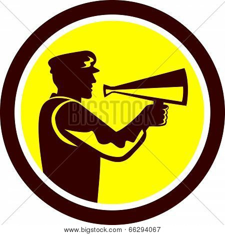 Movie Director Bullhorn Side Circle Retro
