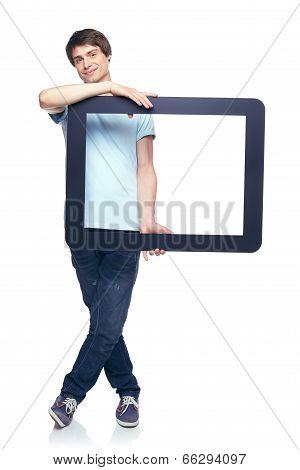 Full length man holding tablet frame