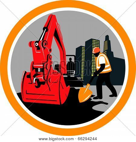 Mechanical Digger Construction Worker Circle