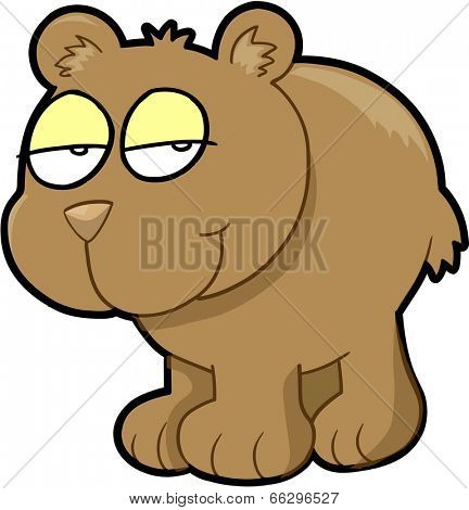 Shy Sly Bear Vector Illustration Art