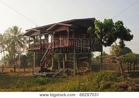 House On Stilts In Laos