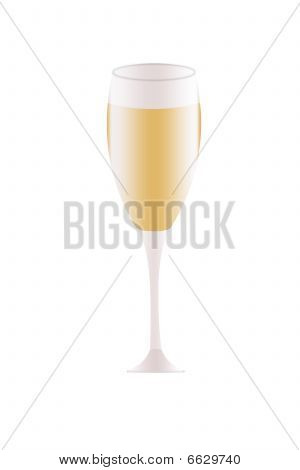 Champagne Glass Flute Illustration Isolated On A White Background.