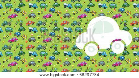 Cars. Greeting card