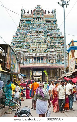 Indian People At Crowded Street. South India, Tamil Nadu, Thanjavur (Trichy)