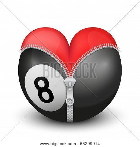 Red heart inside billiard ball