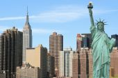 picture of new york skyline  - Manhattan skyline and the Statue of Liberty - JPG