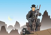 picture of chimney  - Vector color illustration the chimney sweep EPS format - JPG