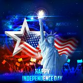 picture of independent woman  - illustration of Statue of Liberty on American flag background for Independence Day - JPG