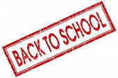 foto of red back  - Back to school red square grungy stamp isolated on white background - JPG
