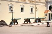stock photo of cannon-ball  - Pyramids of cannonballs and cannon near Prince Palace in Monaco - JPG