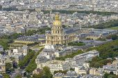 stock photo of bonaparte  - Aerial view of Les Invalides taken from Montparnasse Tower in Paris France