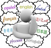 picture of thinker  - languages thought clouds thinker english - JPG