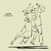 stock photo of tango  - art sketched tango dancers in vector - JPG