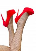 stock photo of fetish fishnet stockings  - Picture of a woman