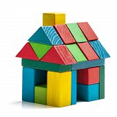 foto of brick block  - house toy blocks isolated white background little wooden home - JPG