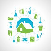 stock photo of dust-bin  - Cleaning washing concept with house and housework icons set vector illustration - JPG