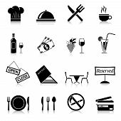 pic of chef knife  - Restaurant food cooking and serving black and white icons set isolated vector illustration - JPG