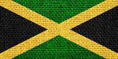 stock photo of jamaican flag  - flag of Jamaica or Jamaican banner on linen background - JPG