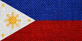 pic of filipino  - flag of Philippines or Filipino banner on linen background - JPG