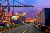 stock photo of travel trailer  - Truck transport container on the road to the port - JPG