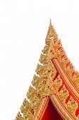 picture of gable-roof  - Gable apex on the roof of the temple on white background - JPG