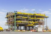 picture of erection  - Platform petroleum fabrication and erection work in onshore yard - JPG