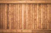 stock photo of lumber  - Big Brown wood plank wall texture background - JPG