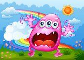 pic of hilltop  - Illustration of a monster shouting at the hilltop - JPG