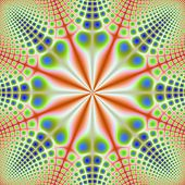 picture of octagon  - A digital abstract fractal image with a spotted octagon design in orange green and blue - JPG