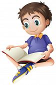 pic of bookworm  - Illustration of a young man reading on a white background - JPG