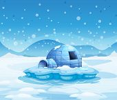 stock photo of igloo  - Illustration of an iceberg with an igloo - JPG