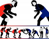 stock photo of wrestling  - A set of wrestling vector silhouette illustrations - JPG