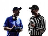 stock photo of referee  - american football referee and coach  in silhouette on white background - JPG