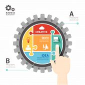 picture of jigsaw  - Gears Infographics push Template jigsaw banner - JPG