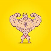 picture of strongman  - Illustration bodybuilder posing on a colored background - JPG
