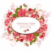 stock photo of floral bouquet  - Vintage Floral Card with Roses Vector Design Element - JPG