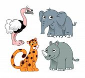 stock photo of rhino  - Four cartoon african animals - JPG