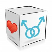 picture of homosexual  - cube icon on the theme of homosexuality with a heart - JPG
