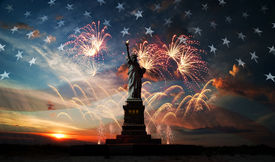 foto of flags world  - Statue of Liberty on the background of flag usa sunrise and fireworks - JPG