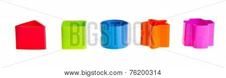 Shape Sorter. Stacks Of  Toy Blocks On Background