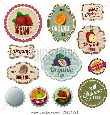 Organic Fresh Fruits Vintage Labels design vector templates. Drinks, Bar Menu, Shop Natural concept icons.