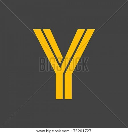 Letter Y vector alphabet impossible shape.  ABC concept type as logo. Typography design