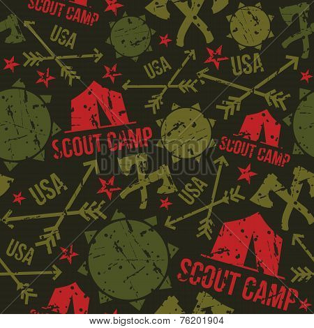 Scout Camp Seamless Patterns