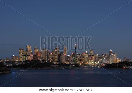 Sydney City Lights At Dusk