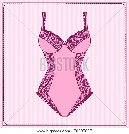 Fashion female lingerie with vintage lace ornament.