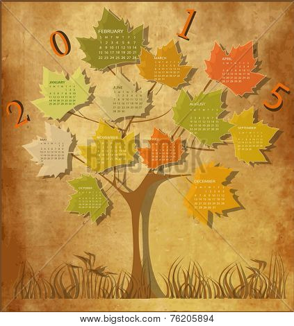 Tree shape Vintage calendar for 2015