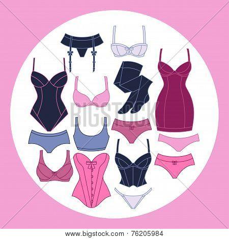 Fashion lingerie background design with female underwear.