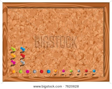 Blank corkboard with pins