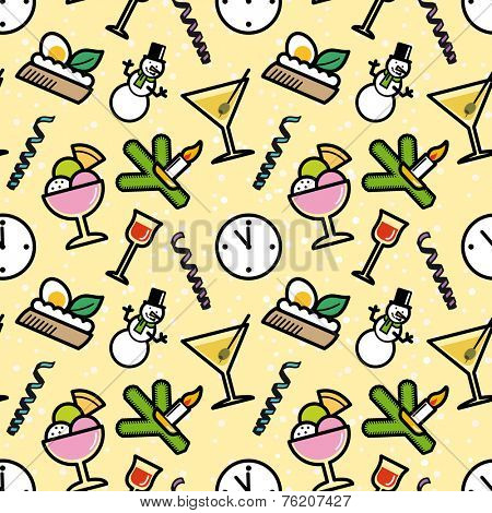 New Year`s Eve party symbols seamless pattern.